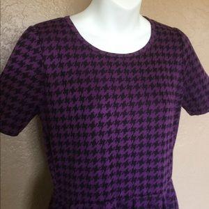 LuLaRoe Black Purple Houndstooth Dress L EUC